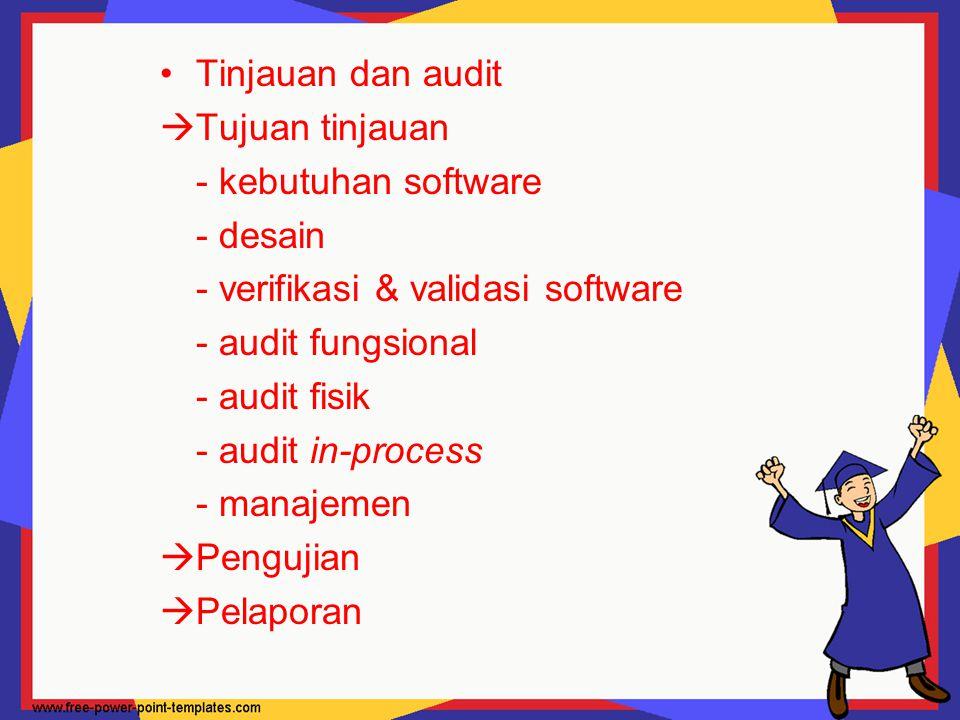 Tinjauan dan audit Tujuan tinjauan. - kebutuhan software. - desain. - verifikasi & validasi software.