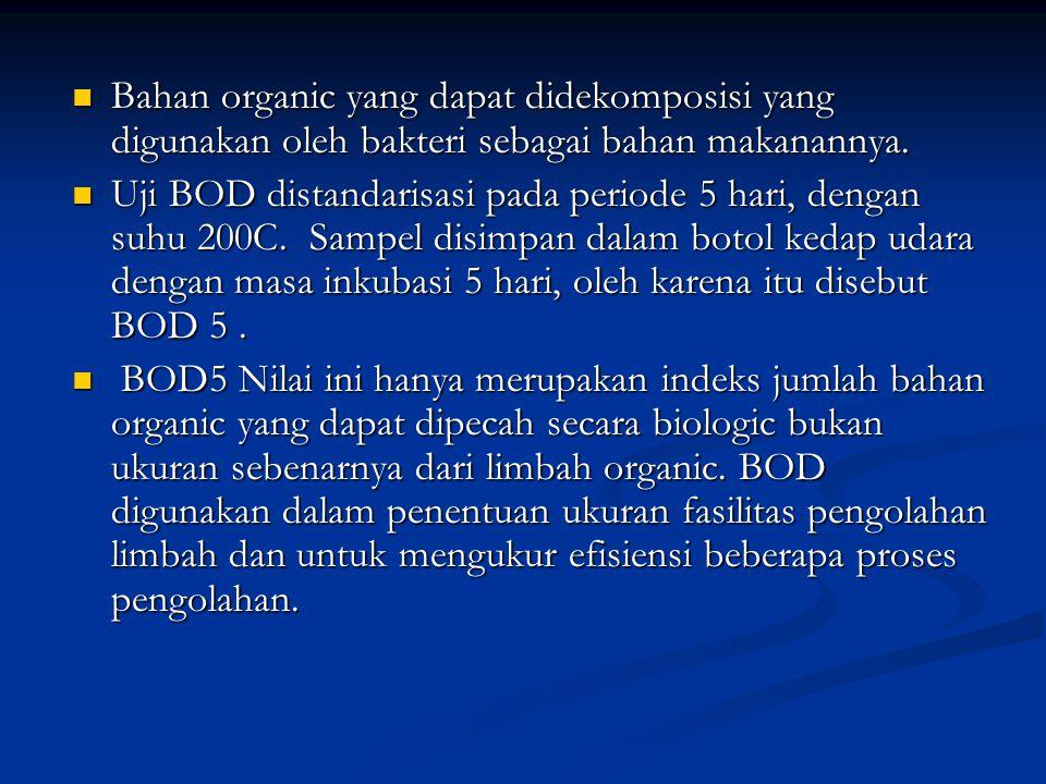 Bahan organic yang dapat didekomposisi yang digunakan oleh bakteri sebagai bahan makanannya.