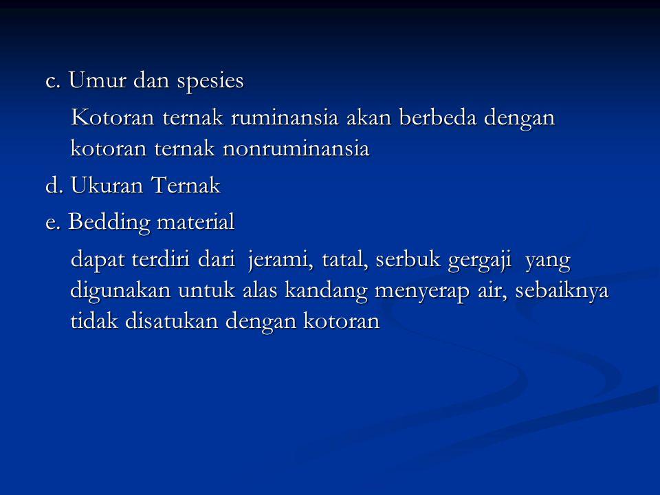 c. Umur dan spesies Kotoran ternak ruminansia akan berbeda dengan kotoran ternak nonruminansia. d. Ukuran Ternak.