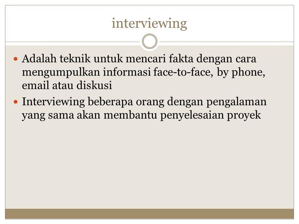 interviewing Adalah teknik untuk mencari fakta dengan cara mengumpulkan informasi face-to-face, by phone, email atau diskusi.