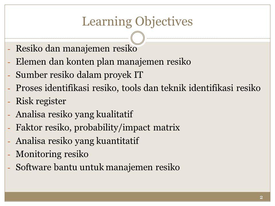 Learning Objectives Resiko dan manajemen resiko