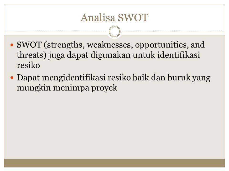 Analisa SWOT SWOT (strengths, weaknesses, opportunities, and threats) juga dapat digunakan untuk identifikasi resiko.