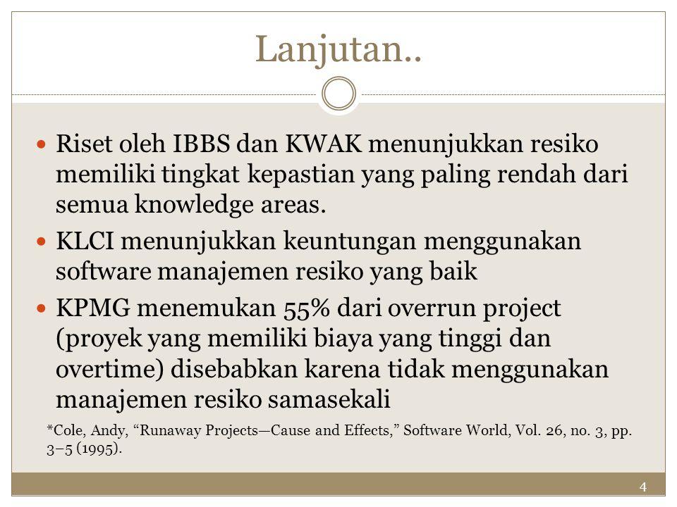 Lanjutan.. Riset oleh IBBS dan KWAK menunjukkan resiko memiliki tingkat kepastian yang paling rendah dari semua knowledge areas.