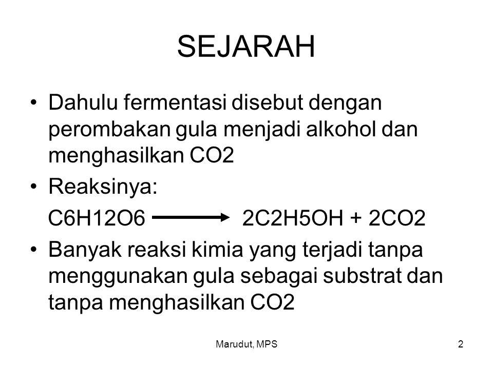 SEJARAH Dahulu fermentasi disebut dengan perombakan gula menjadi alkohol dan menghasilkan CO2. Reaksinya: