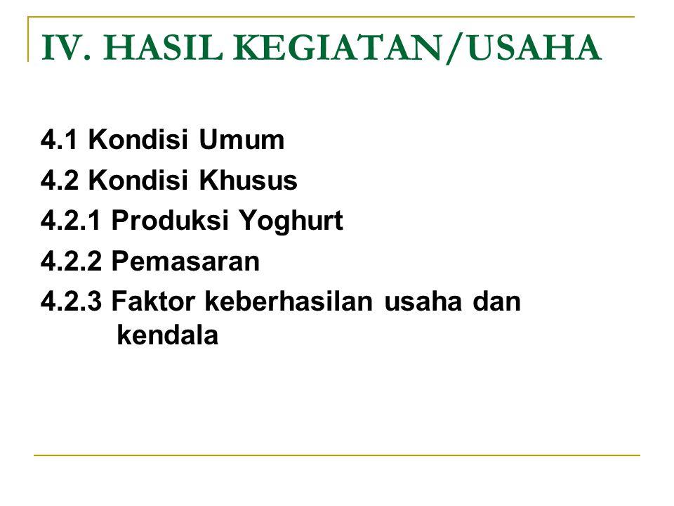 IV. HASIL KEGIATAN/USAHA