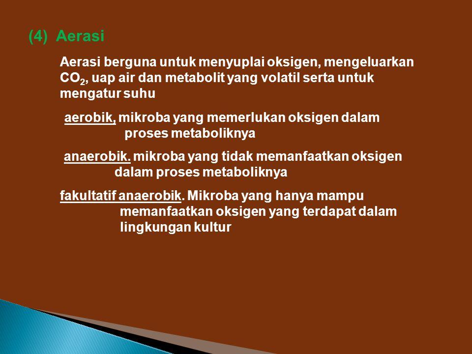 (4) Aerasi Aerasi berguna untuk menyuplai oksigen, mengeluarkan CO2, uap air dan metabolit yang volatil serta untuk mengatur suhu.