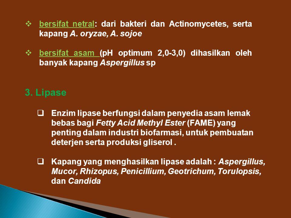bersifat netral: dari bakteri dan Actinomycetes, serta kapang A