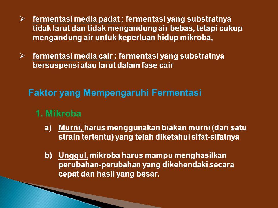 Faktor yang Mempengaruhi Fermentasi