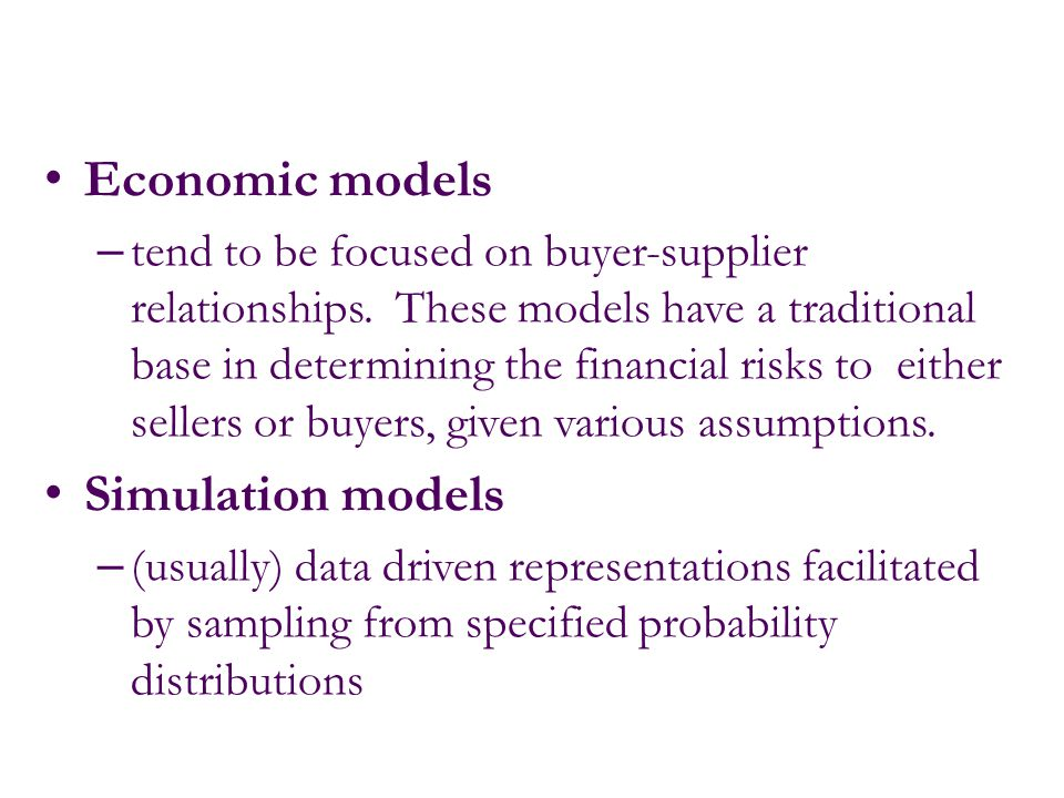 Economic models Simulation models
