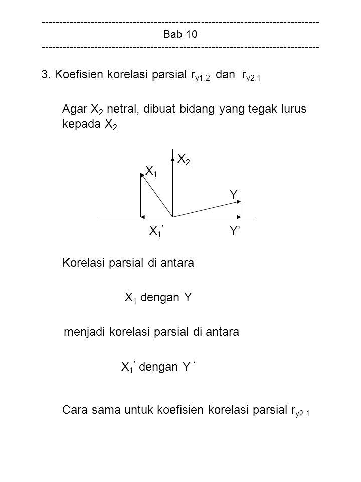 3. Koefisien korelasi parsial ry1.2 dan ry2.1