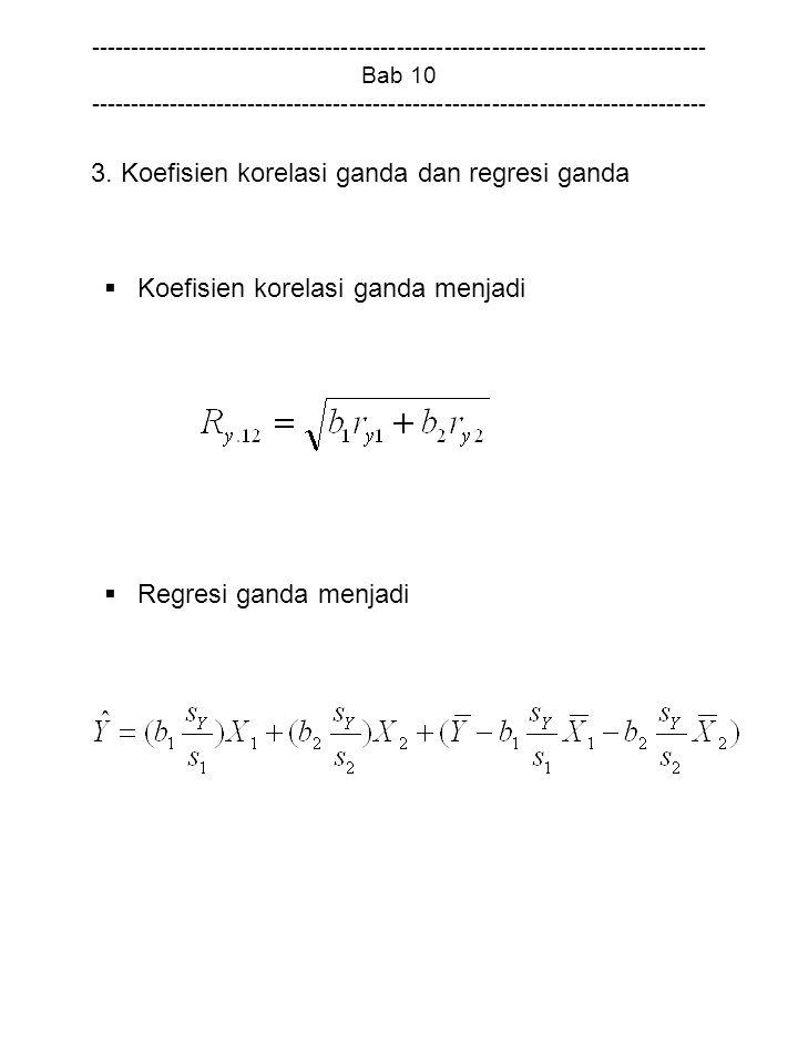 3. Koefisien korelasi ganda dan regresi ganda