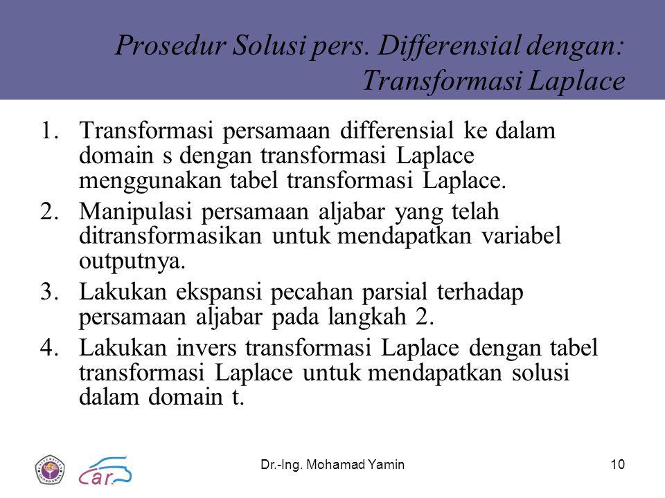 Prosedur Solusi pers. Differensial dengan: Transformasi Laplace