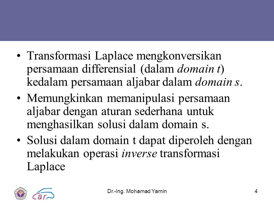 Transformasi Laplace mengkonversikan persamaan differensial (dalam domain t) kedalam persamaan aljabar dalam domain s.