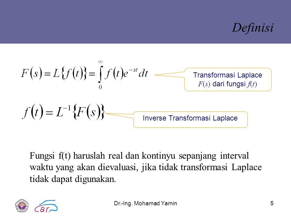 Definisi Transformasi Laplace F(s) dari fungsi f(t) Inverse Transformasi Laplace.