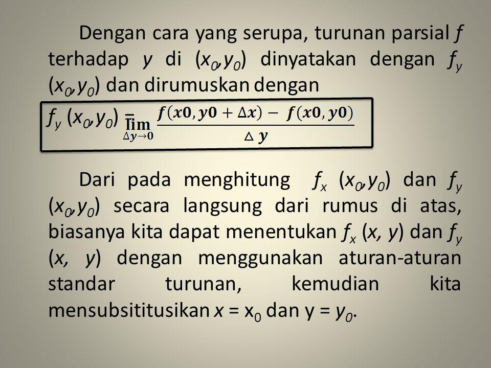 Dengan cara yang serupa, turunan parsial f terhadap y di (x0,y0) dinyatakan dengan fy (x0,y0) dan dirumuskan dengan fy (x0,y0) = Dari pada menghitung fx (x0,y0) dan fy (x0,y0) secara langsung dari rumus di atas, biasanya kita dapat menentukan fx (x, y) dan fy (x, y) dengan menggunakan aturan-aturan standar turunan, kemudian kita mensubsititusikan x = x0 dan y = y0.