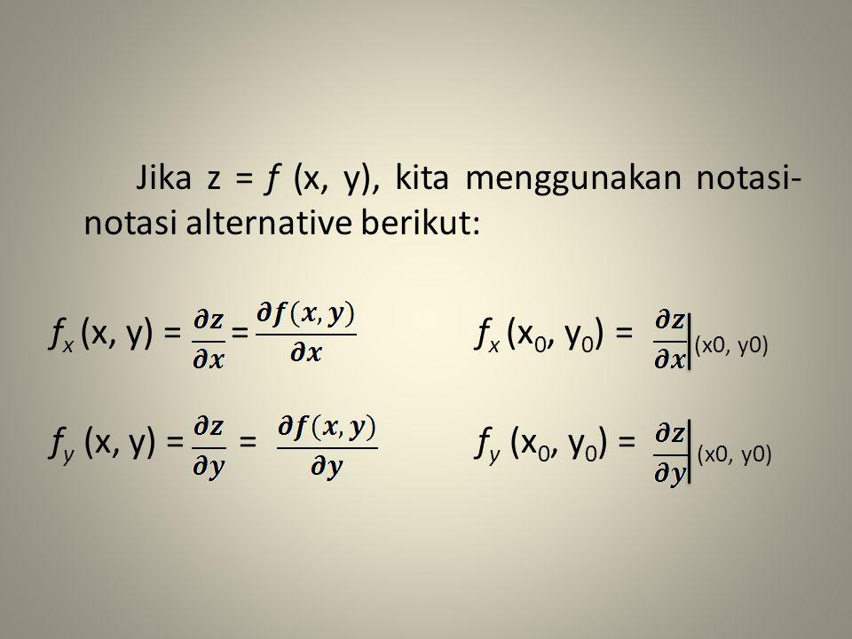 Jika z = f (x, y), kita menggunakan notasi-notasi alternative berikut: fx (x, y) = = fx (x0, y0) = (x0, y0) fy (x, y) = = fy (x0, y0) = (x0, y0)