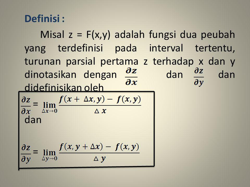 Definisi : Misal z = F(x,y) adalah fungsi dua peubah yang terdefinisi pada interval tertentu, turunan parsial pertama z terhadap x dan y dinotasikan dengan dan dan didefinisikan oleh = dan