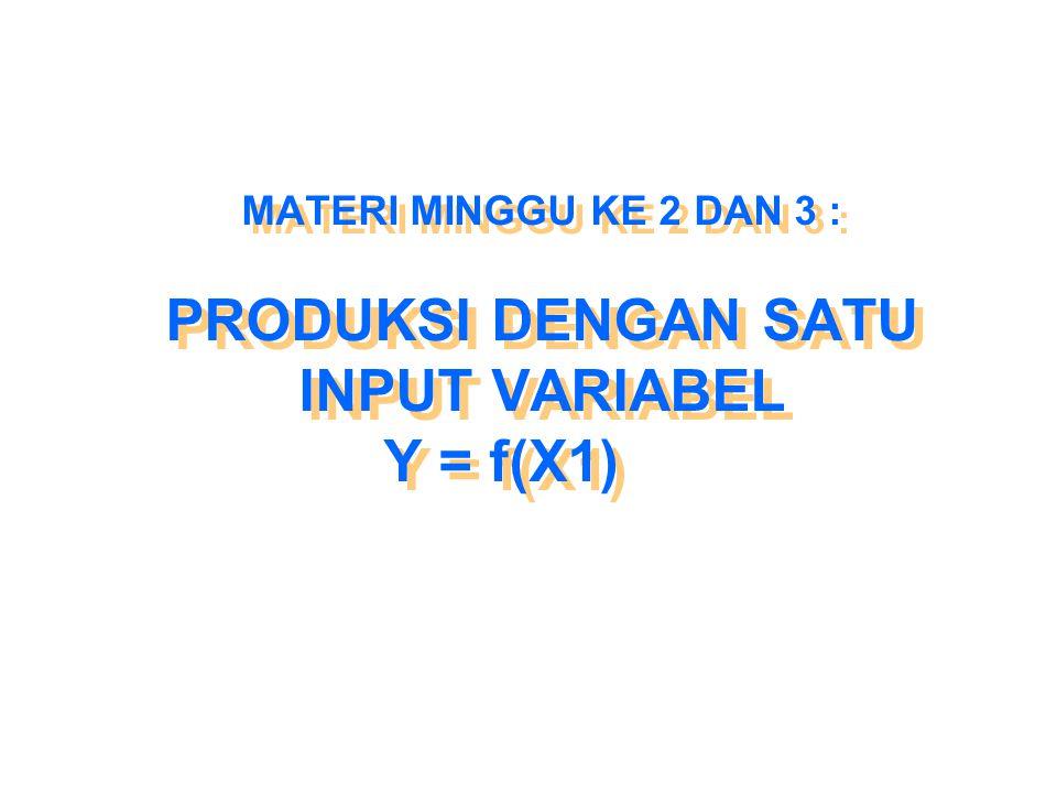 MATERI MINGGU KE 2 DAN 3 : PRODUKSI DENGAN SATU INPUT VARIABEL Y = f(X1)