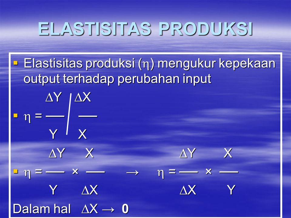 ELASTISITAS PRODUKSI Elastisitas produksi () mengukur kepekaan output terhadap perubahan input. Y X.