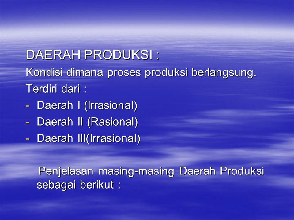 DAERAH PRODUKSI : Kondisi dimana proses produksi berlangsung.