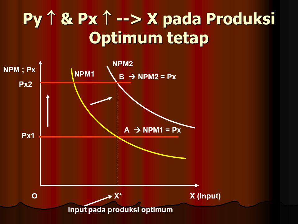 Py  & Px  --> X pada Produksi Optimum tetap
