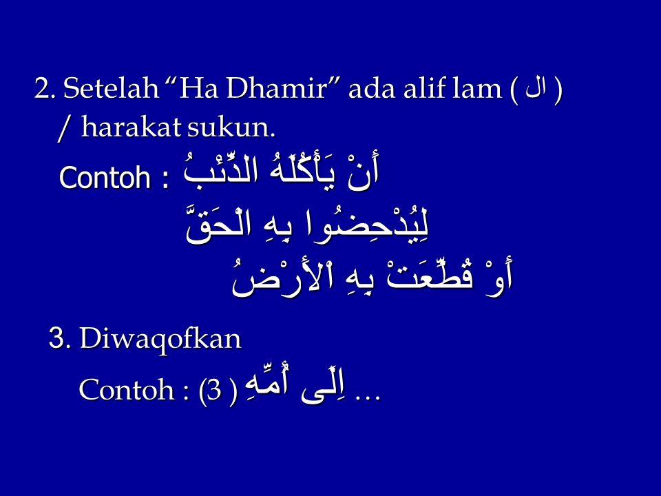 2. Setelah Ha Dhamir ada alif lam ( ال ) / harakat sukun