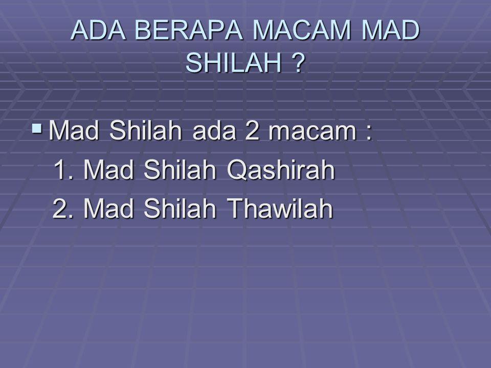 ADA BERAPA MACAM MAD SHILAH