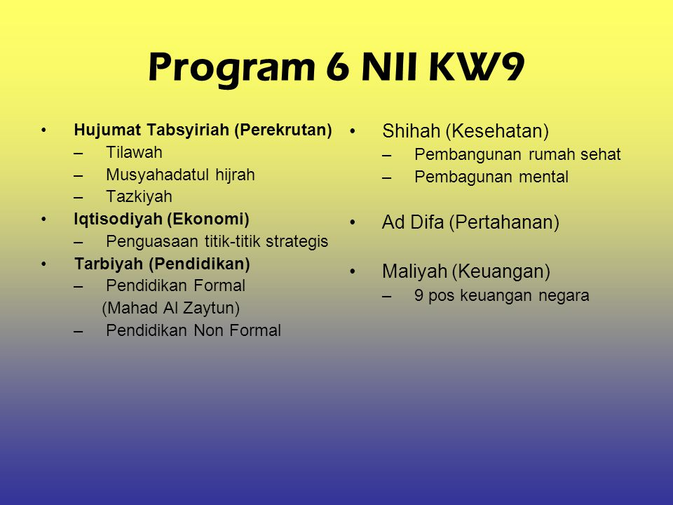 Program 6 NII KW9 Shihah (Kesehatan) Ad Difa (Pertahanan)