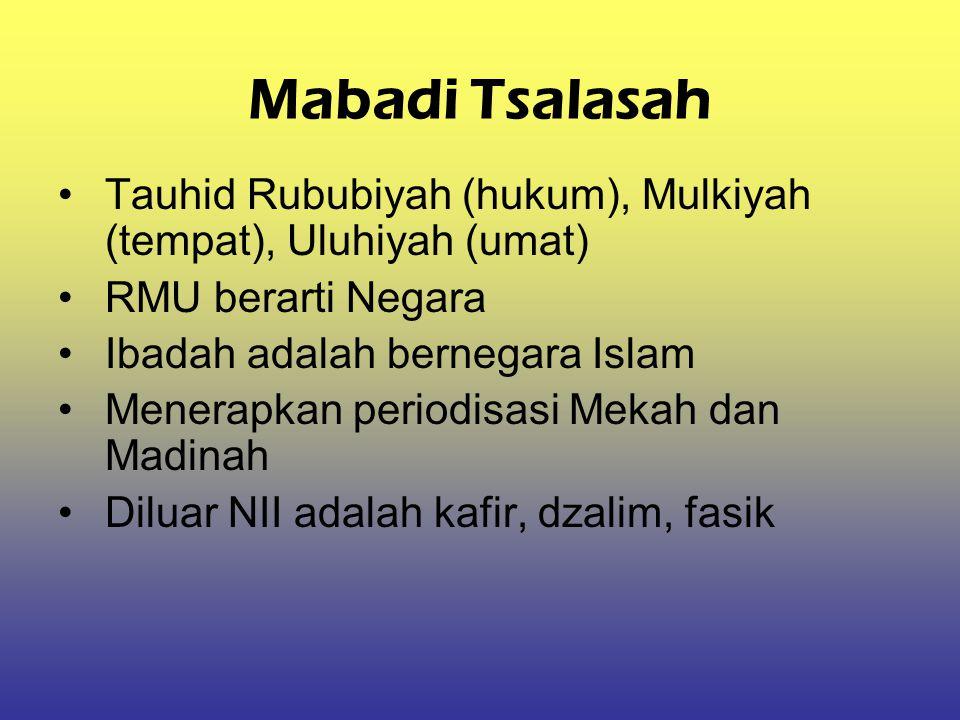 Mabadi Tsalasah Tauhid Rububiyah (hukum), Mulkiyah (tempat), Uluhiyah (umat) RMU berarti Negara. Ibadah adalah bernegara Islam.