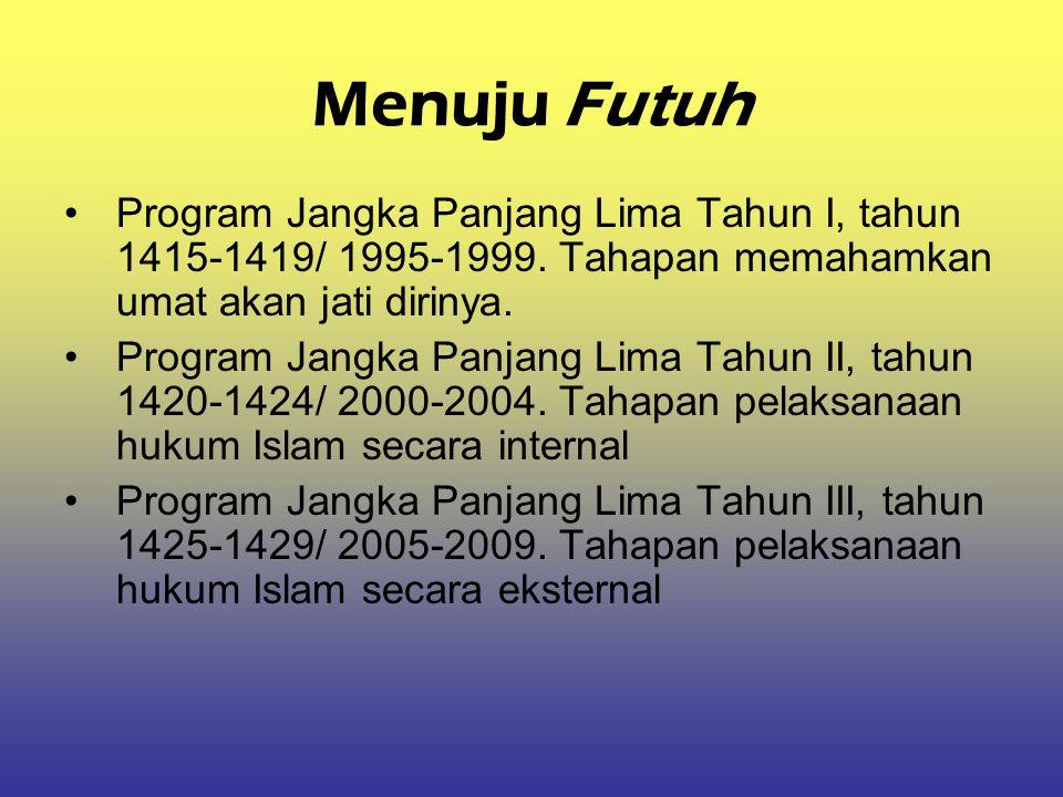 Menuju Futuh Program Jangka Panjang Lima Tahun I, tahun 1415-1419/ 1995-1999. Tahapan memahamkan umat akan jati dirinya.