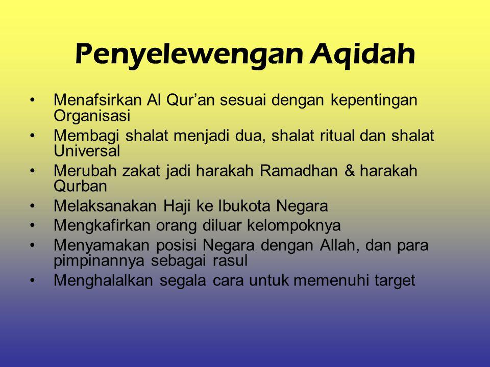 Penyelewengan Aqidah Menafsirkan Al Qur'an sesuai dengan kepentingan Organisasi. Membagi shalat menjadi dua, shalat ritual dan shalat Universal.