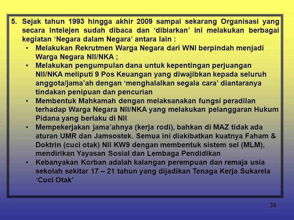 Sejak tahun 1993 hingga akhir 2009 sampai sekarang Organisasi yang secara Intelejen sudah dibaca dan 'dibiarkan' ini melakukan berbagai kegiatan 'Negara dalam Negara' antara lain :