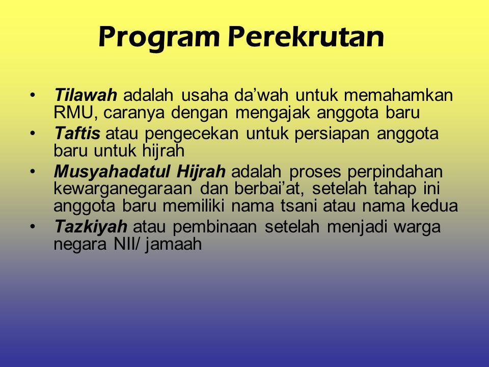 Program Perekrutan Tilawah adalah usaha da'wah untuk memahamkan RMU, caranya dengan mengajak anggota baru.