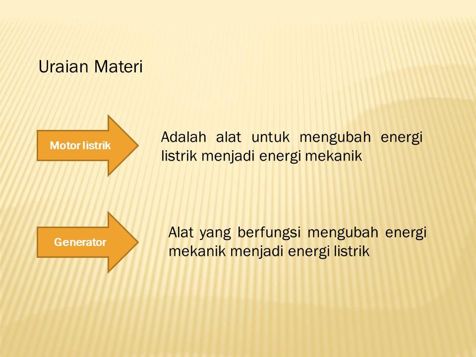 Uraian Materi Motor listrik. Adalah alat untuk mengubah energi listrik menjadi energi mekanik. Generator.
