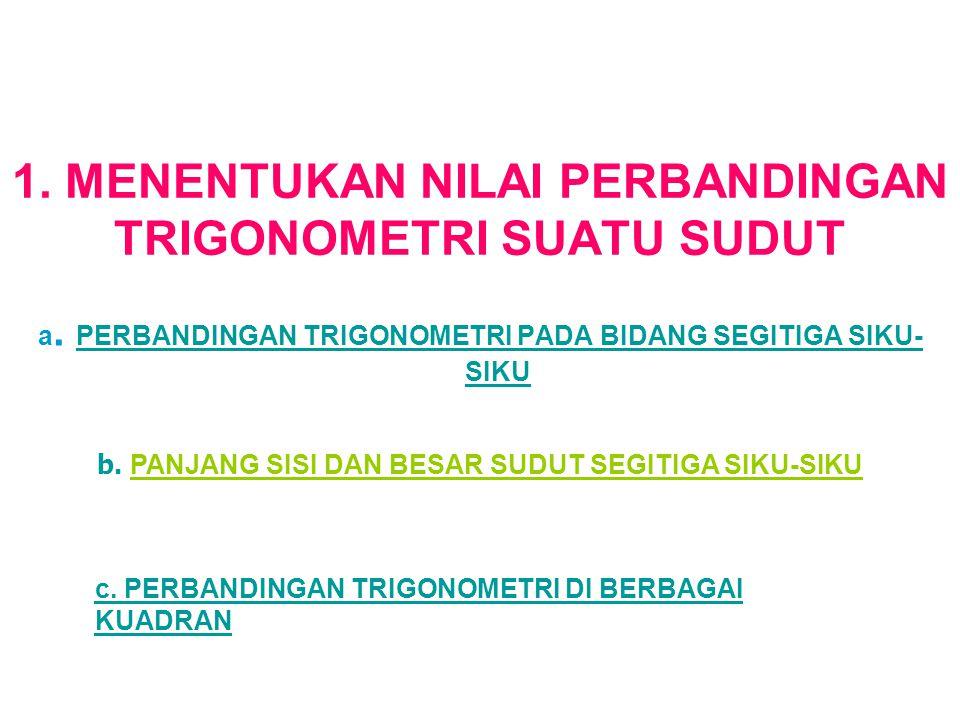 1. MENENTUKAN NILAI PERBANDINGAN TRIGONOMETRI SUATU SUDUT