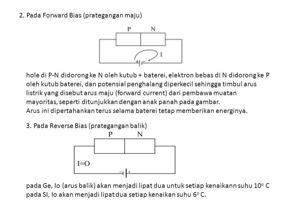 2. Pada Forward Bias (prategangan maju)
