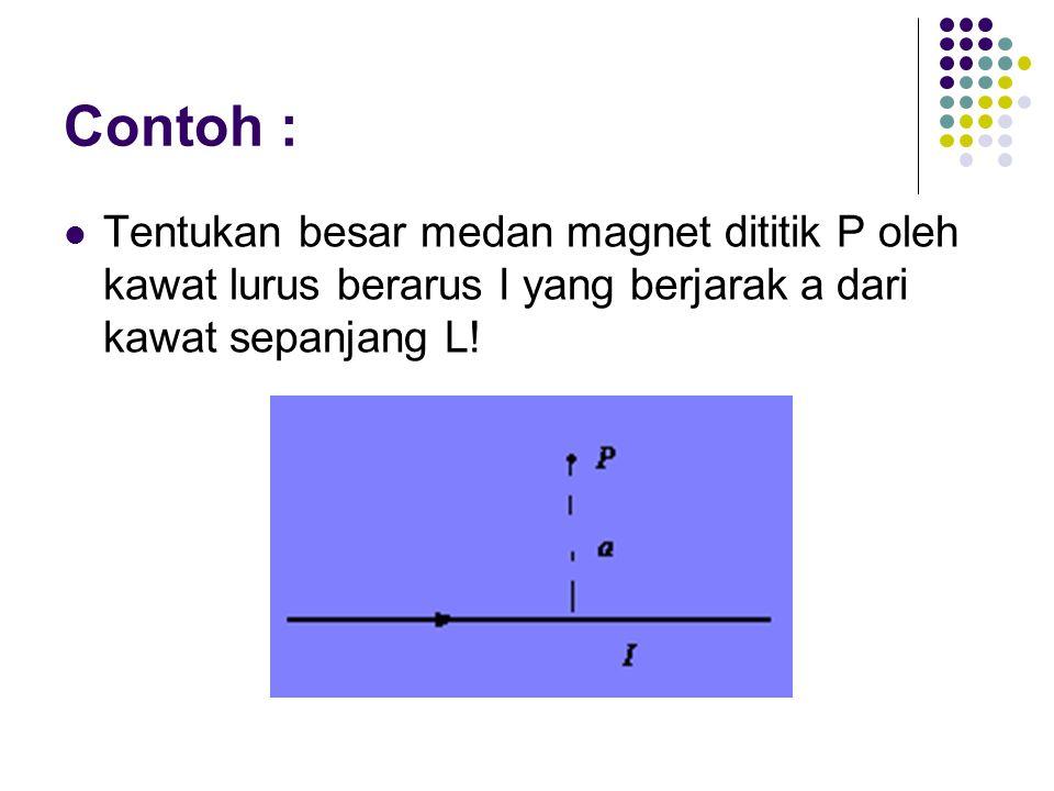 Contoh : Tentukan besar medan magnet dititik P oleh kawat lurus berarus I yang berjarak a dari kawat sepanjang L!