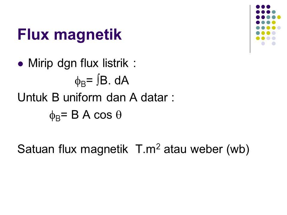 Flux magnetik Mirip dgn flux listrik : B= B. dA