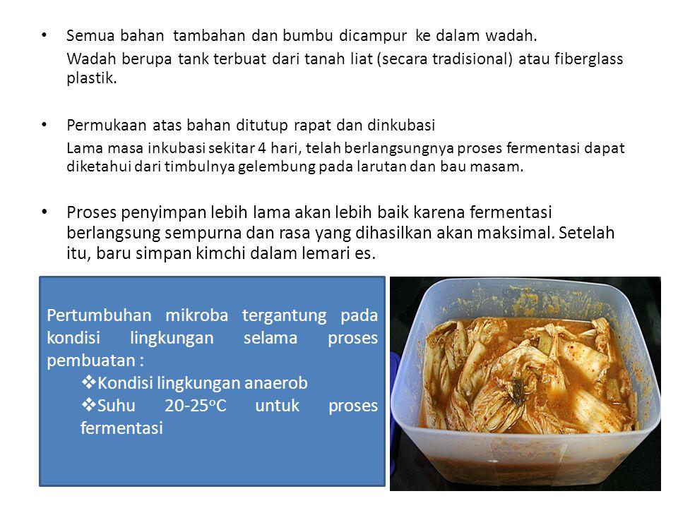 Kondisi lingkungan anaerob Suhu 20-25oC untuk proses fermentasi