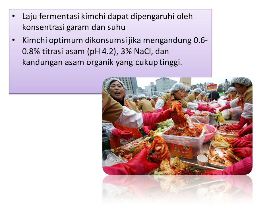 Laju fermentasi kimchi dapat dipengaruhi oleh konsentrasi garam dan suhu