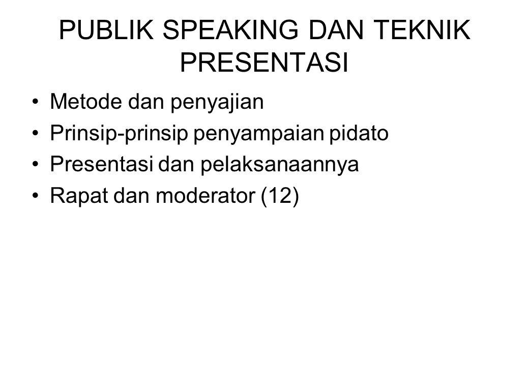PUBLIK SPEAKING DAN TEKNIK PRESENTASI