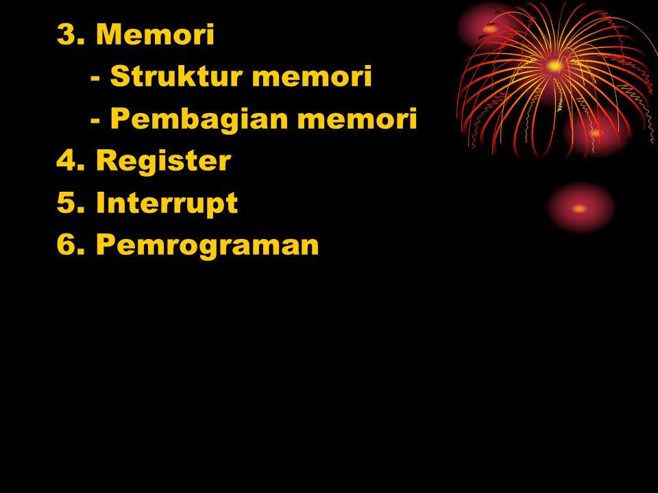 3. Memori - Struktur memori - Pembagian memori 4. Register 5. Interrupt 6. Pemrograman