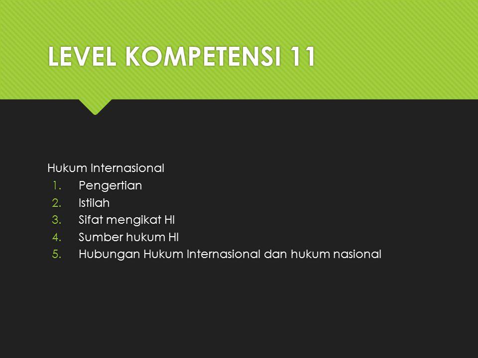 LEVEL KOMPETENSI 11 Hukum Internasional Pengertian Istilah
