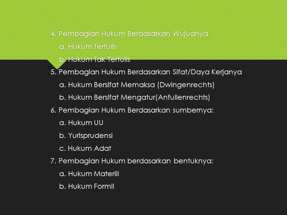 4. Pembagian Hukum Berdasarkan Wujudnya a. Hukum Tertulis b