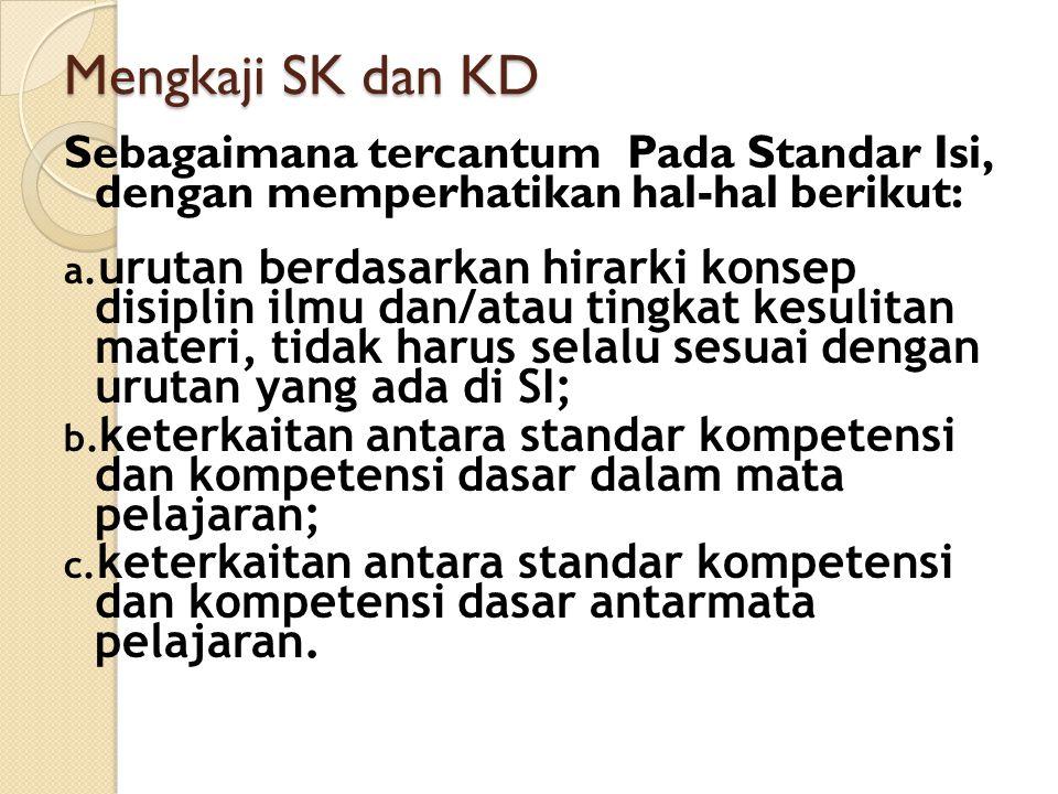 12/06/2011 Mengkaji SK dan KD. Sebagaimana tercantum Pada Standar Isi, dengan memperhatikan hal-hal berikut: