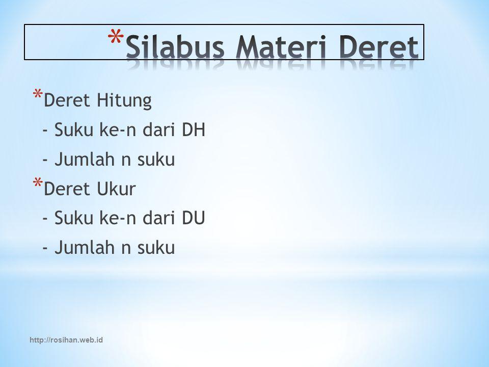 Silabus Materi Deret Deret Hitung - Suku ke-n dari DH - Jumlah n suku