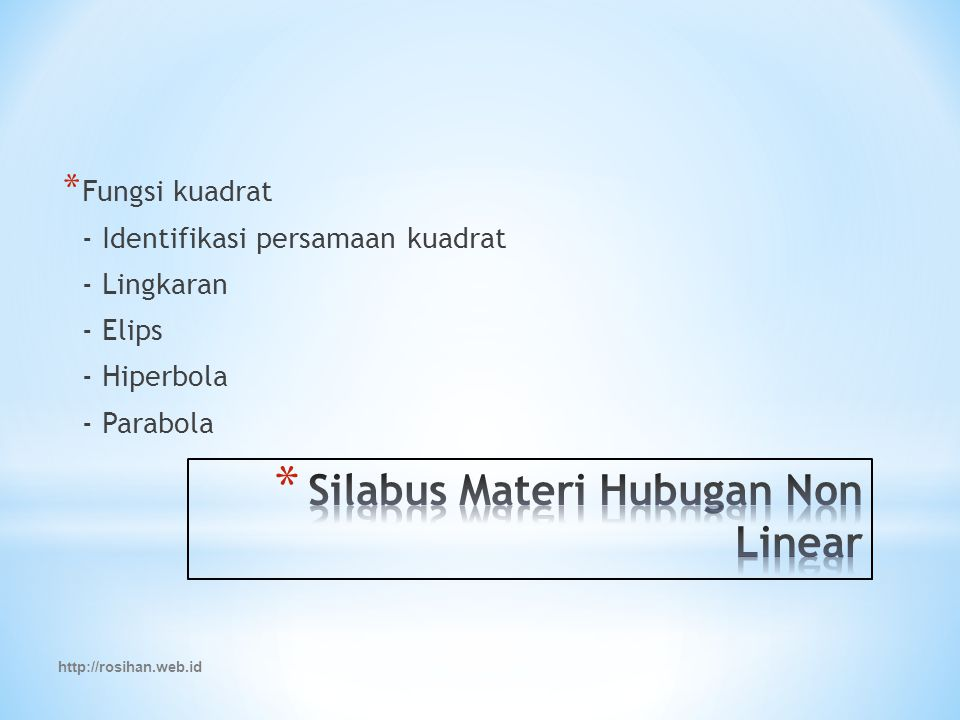 Silabus Materi Hubugan Non Linear