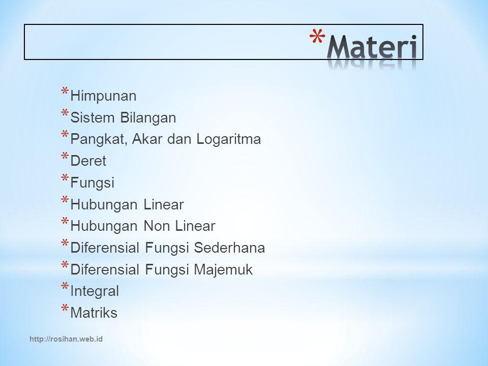 Materi Himpunan Sistem Bilangan Pangkat, Akar dan Logaritma Deret