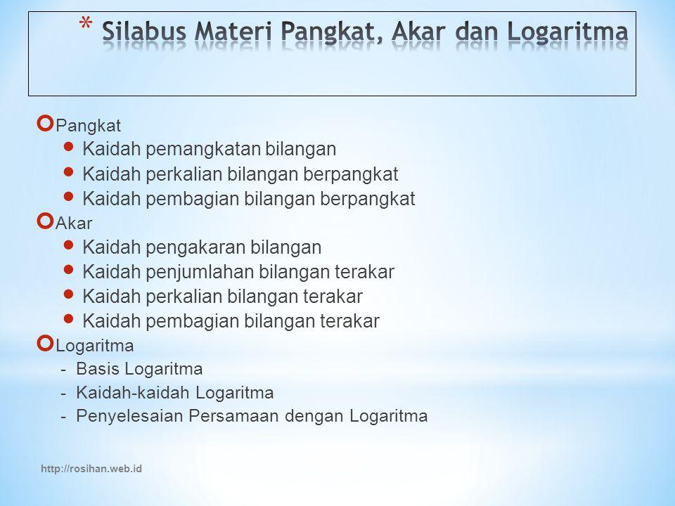 Silabus Materi Pangkat, Akar dan Logaritma