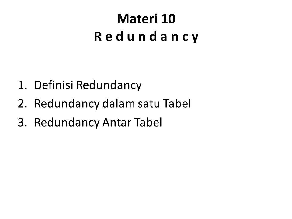 Materi 10 R e d u n d a n c y Definisi Redundancy
